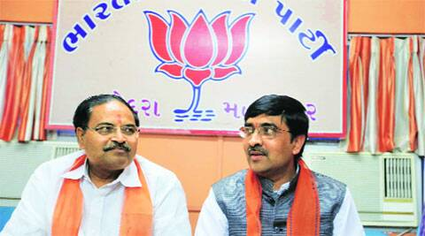 State BJP general secretary Bharat Pandya (right) and Vadodara MP Balkrishna Shukla at a press conference in Vadodara on Tuesday.  Bhupendra Rana