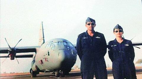 Wing commander Prashant Joshi and his wife Anita against the C-130 J