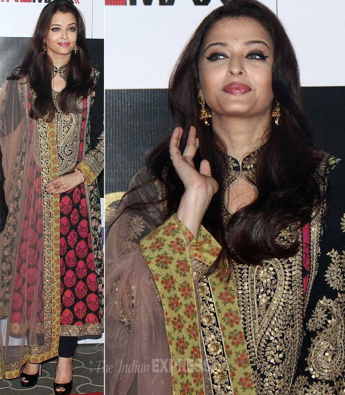 Former beauty queen Aishwarya Rai Bachchan was elegant in a beautiful Pankaj and Nidhi creation accessorised with jhumkas and black heels. (Photo: Varinder Chawla)