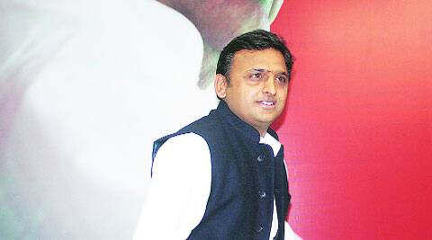 Chief Minister Akhilesh Yadav ahead of a press conference at the party headquarters, held to mark two years of  his government, in Lucknow on Saturday