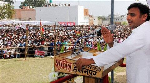 Uttar Pradesh Chief Minister Akhilesh Yadav addresses people during a rally in Baghpat on Saturday. (AP)
