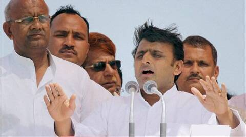 Uttar Pradesh Chief Minister Akhilesh Yadav addresses an election campaign meeting for Lok Sabha elections in Hapur on Sunday. (PTI)