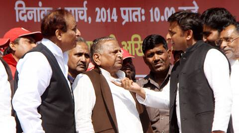 Samajwadi Party supremo Mulayam Singh Yadav,Chief Minister Akhilesh Yadav and cabinet Minister Azam Khan. (IE Photo: Vishal Srivastav)