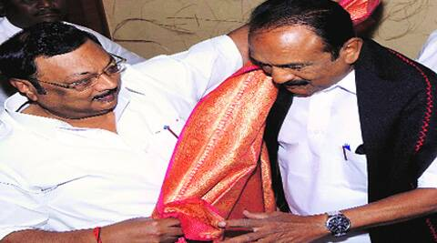 Vailko with Alagiri in Madurai on Sunday. (PTI)