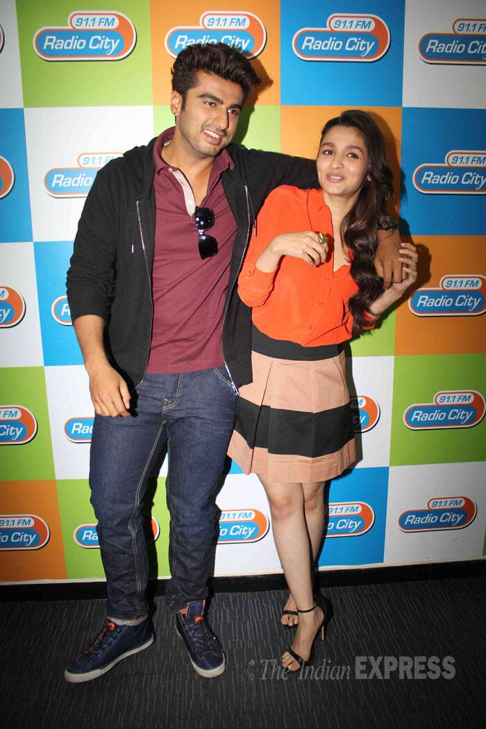Alia and Arjun had also  visited a radio station in Mumbai and were seen having quite a ball. (Photo: Varinder Chawla)