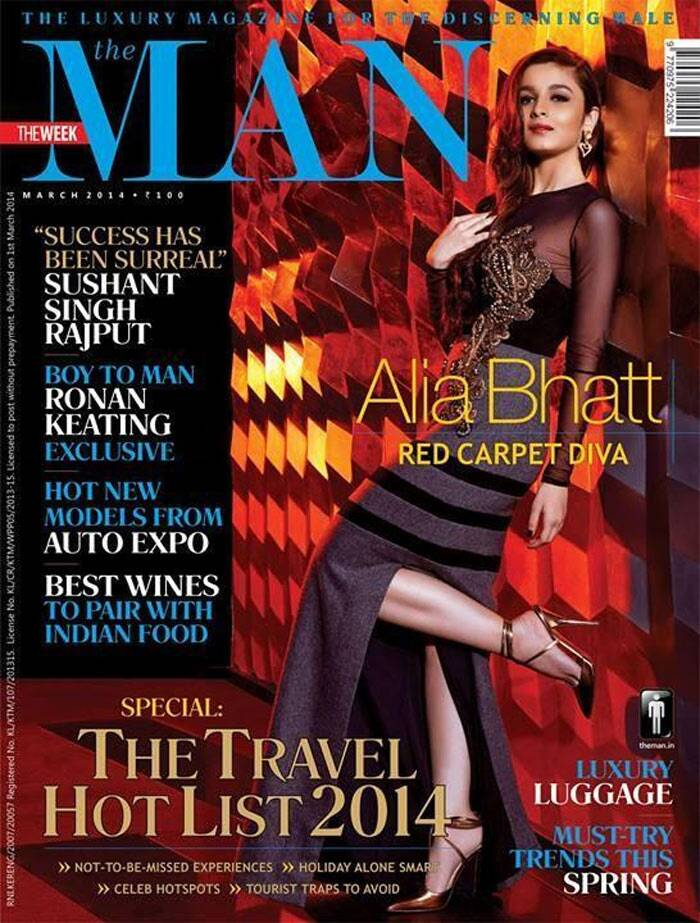 'Highway' actress Alia Bhatt looks stunning and way beyond her years as she shot for a men's magazine cover. The actress is seen posing against a wall, on the red carpet in a gorgeous sheer sleeved gown with a slit, revealing her toned legs and sexy stilettos.