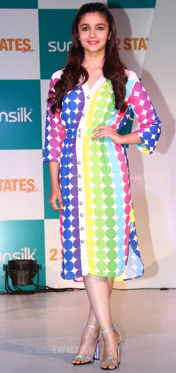 Alia Bhatt, who plays a South Indian girl in the film, was pretty in a rainbow coloured summer dress with ankle-strapped sandals. (Photo: Varinder Chawla)