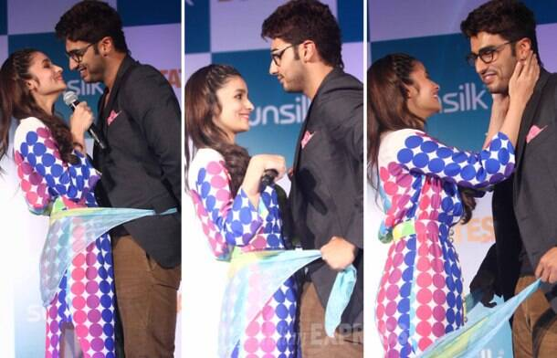 Rumoured lovers Arjun Kapoor, Alia Bhatt get cozy while promoting '2 States'
