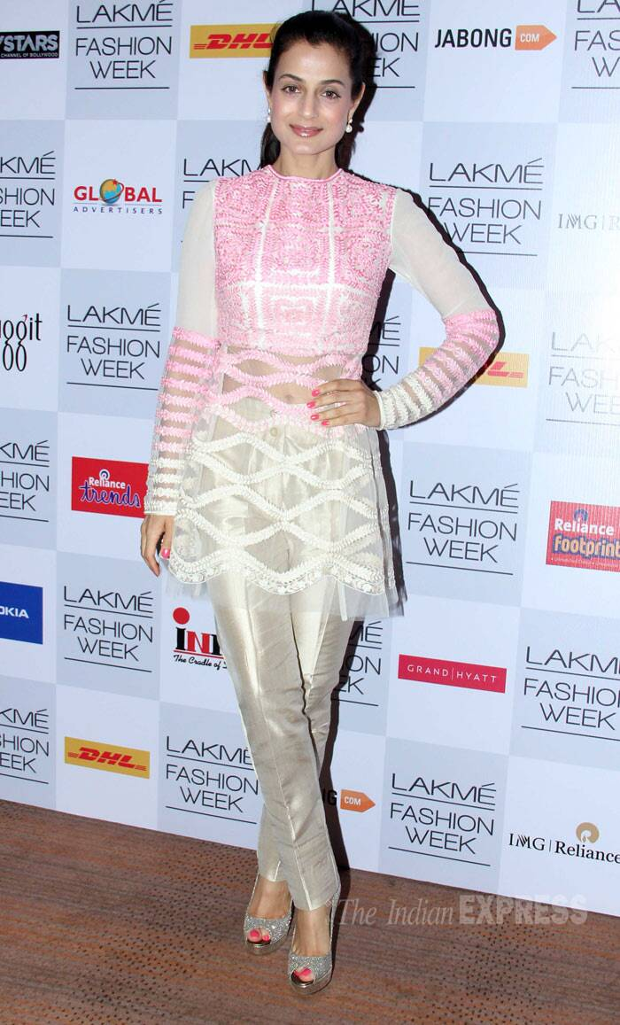 Ameesha Patel made an appearance in a pastel pink and cream sheer outfit. (Photo: Varinder Chawla)