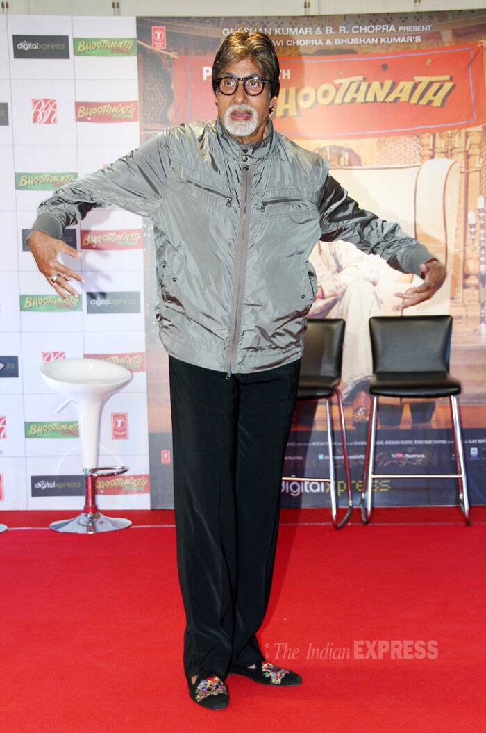 Amitabh Bachchan is back as the 'bhooth' in the sequel to 'Bhoothnath'. The megastar was seen promoting the upcoming horror comedy-drama flick in Mumbai on Saturday evening. (Photo: Varinder Chawla)