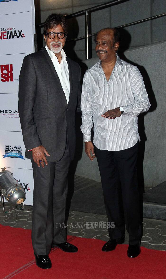 "Both the superstars – Amitabh Bachchan and Rajinikanth are all smiles as they pose together for the shutterbugs. ""Back from the launch of 'KOCHADAIIYAN' Rajnikanth's motion capture technology film , made directed by his daughter .. INCREDIBLE !!,"" posted Big B. (Photo: Varinder Chawla)"