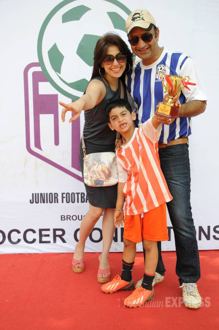 Actress turned celebrity chef Amrita Raichand, her husband Rahul and their son Agastya look all pumped up after he wins a trophy. (Photo: Varinder Chawla)