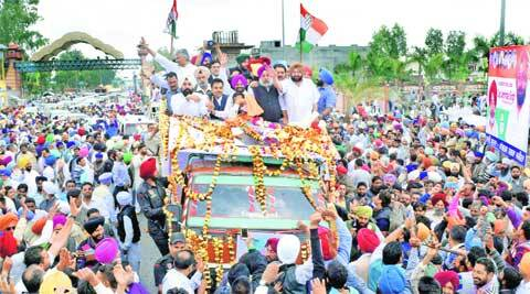 Captain Amarinder Singh in Amritsar on Friday. (Rana Simranjit Singh)