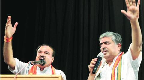 Ananth Kumar and Nandan Nilekani request party workers to calm down Saturday. (PTI)