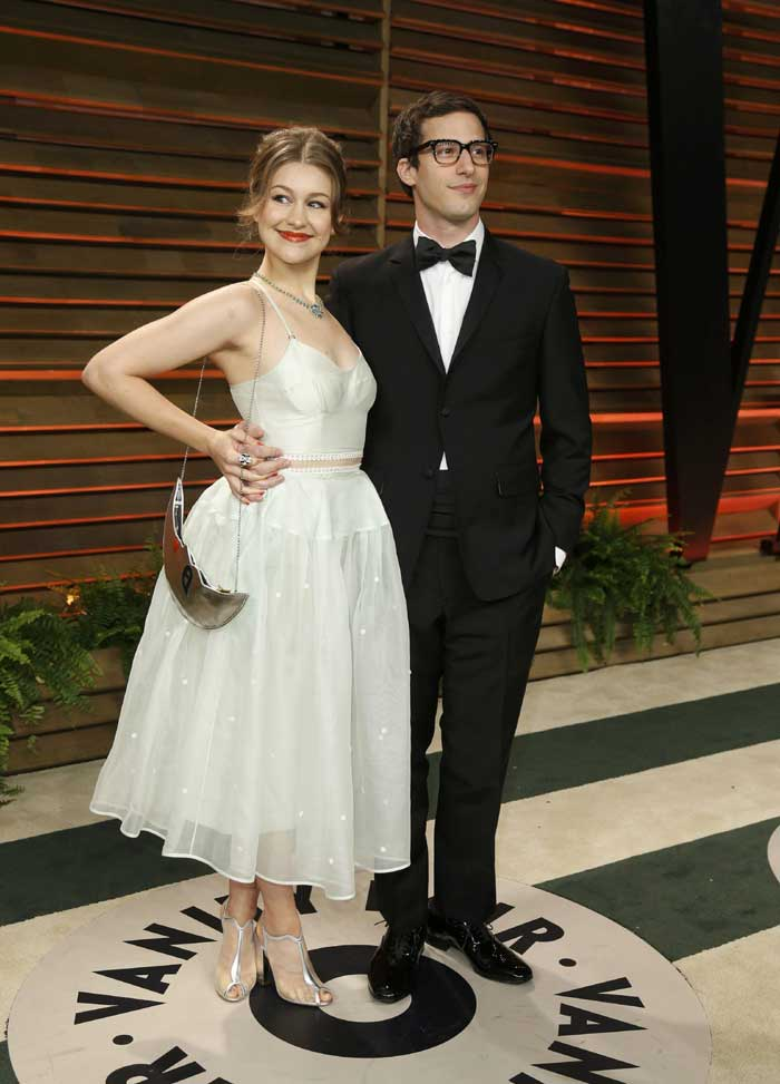 Actor Andy Samberg and his wife Joanna Newsom arrive at the 2014 Vanity Fair Oscars Party. (Reuters)