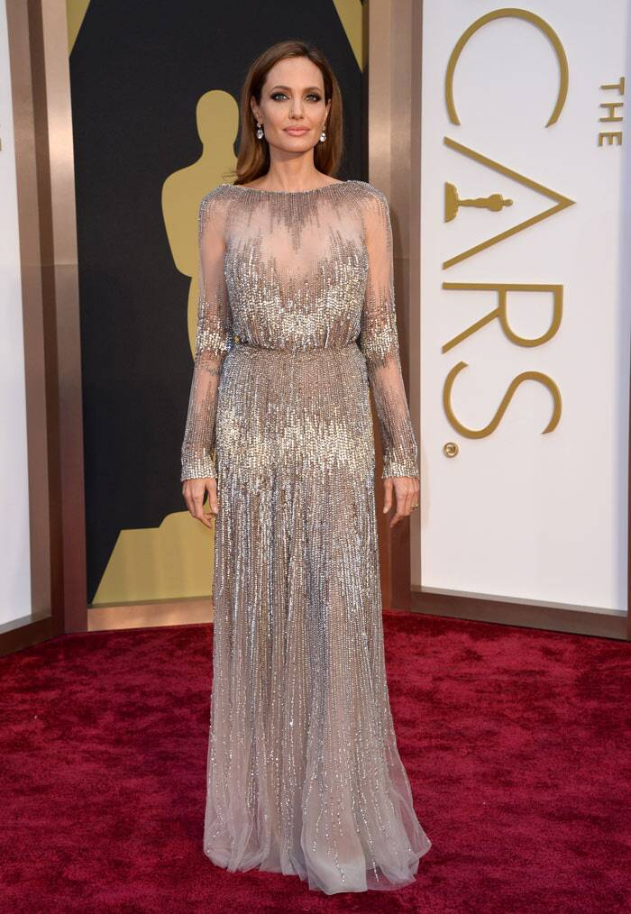 Angelina Jolie shimmered in a nude coloured Elie Saab with just about enough sparkle for the red carpet. She finished off her look with Robert Procop jewels. (AP)