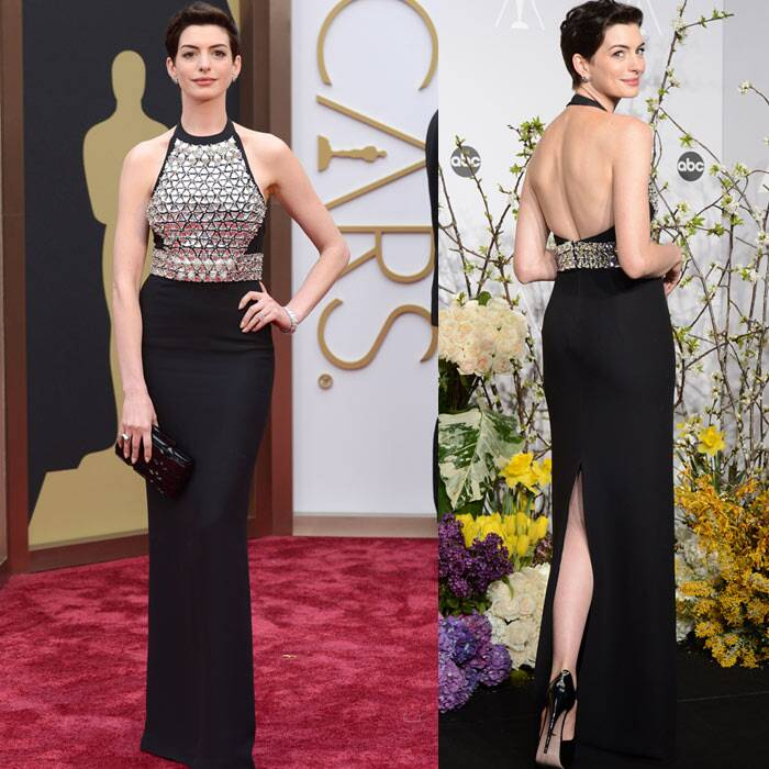 Anna Hathaway: No doubt, Anne Hathaway showed off her enviable slim figure beautifully in her black sophisticated dress, however, the reflecting metallic breastplate was a bit disappointing. (Reuters)