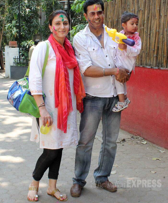 Television actor and anchor Anup Soni was spotted with his son Imaan and wife Juhi Babbar at Shabana Azmi-Javed Akhtar Holi party. (Photo: Varinder Chawla)