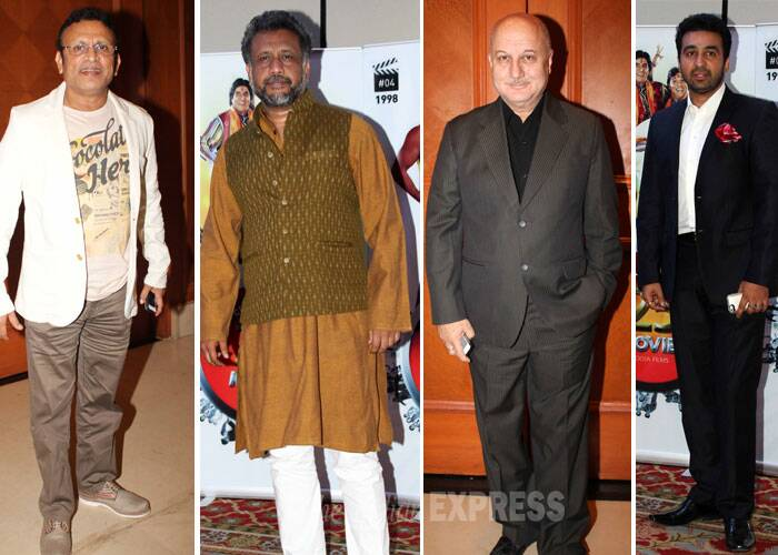 Bollywood veterans Anupam Kher, Anu Kapoor, Anubhav Sinha and industrialist Raj Kundra celebrate together for Vasu Bhagnani. (Photo: Varinder Chawla)
