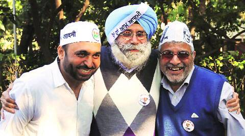 AAP candidates Bhagwant Mann, H S Phoolka and Dr Dharamvir Gandhi in Chandigarh on Thursday.