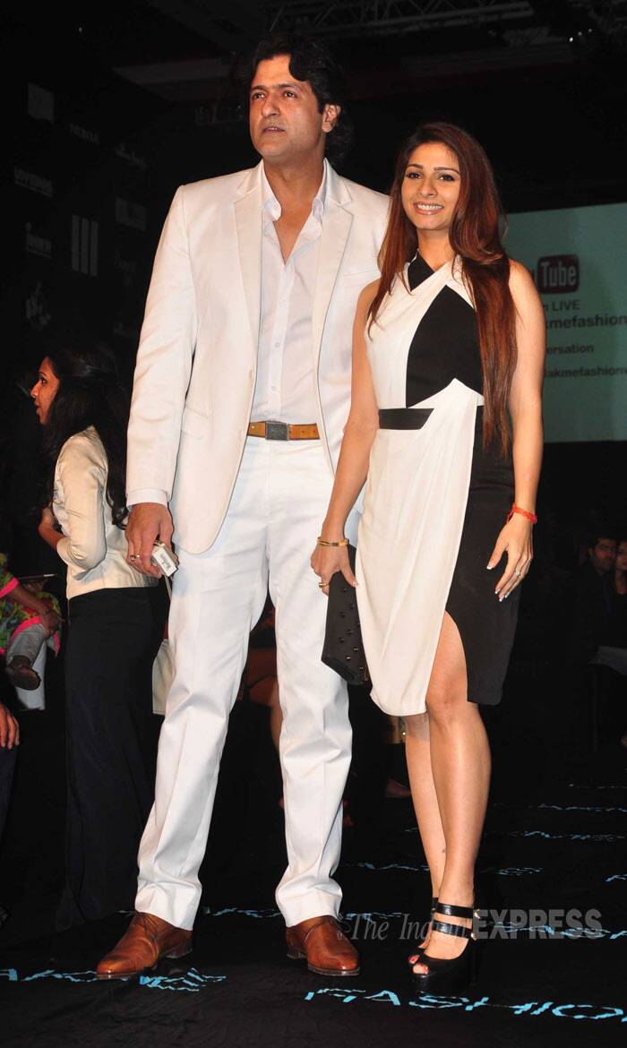 Former 'Bigg Boss 7' participants Tanishaa and Armaan, who are rumoured to be going around, were colour co-ordinated in black and white. (Photo: Varinder Chawla)