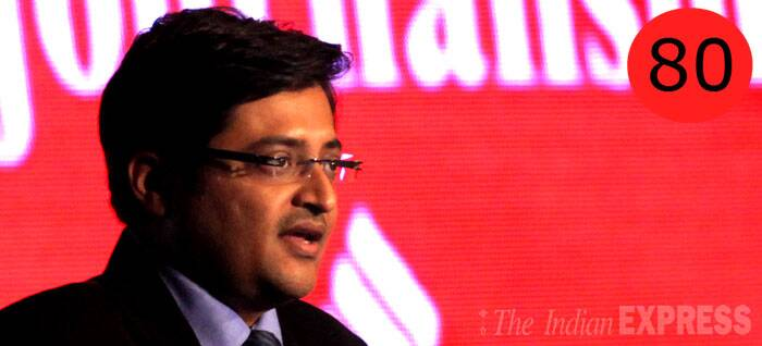 <b>Arnab Goswami</b> (45), Editor-in-chief, Times Now<br /> <b>WHY</b>: Has made Times Now the most viewed English news channel in a short time. His aggressive style of anchoring has forced others to follow suit, making him one of the most popular—and spoofed — prime time anchors.