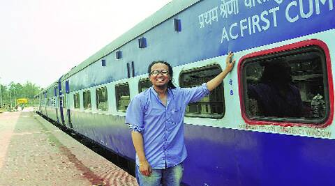 Taba Chake, who has never travelled by train, with the inspection train.(Dasarath Deka)
