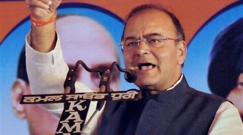 """Arun Jaitley released the BJP manifesto at a press conference Tuesday afternoon. Jaitley said the NDA is the only option left for the country. """"The only other option is chaos,"""" he said.. (PTI)"""