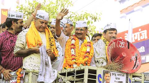In Varanasi Tuesday. The ink on Arvind Kejriwal and other AAP members was hurled by protesters.ravi prakash