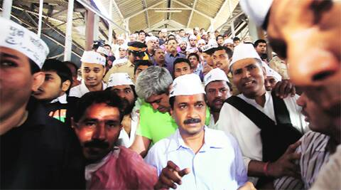 Arvind Kejriwal's visit was marked by chaos as he travelled by auto-rickshaw, local train on Wednesday