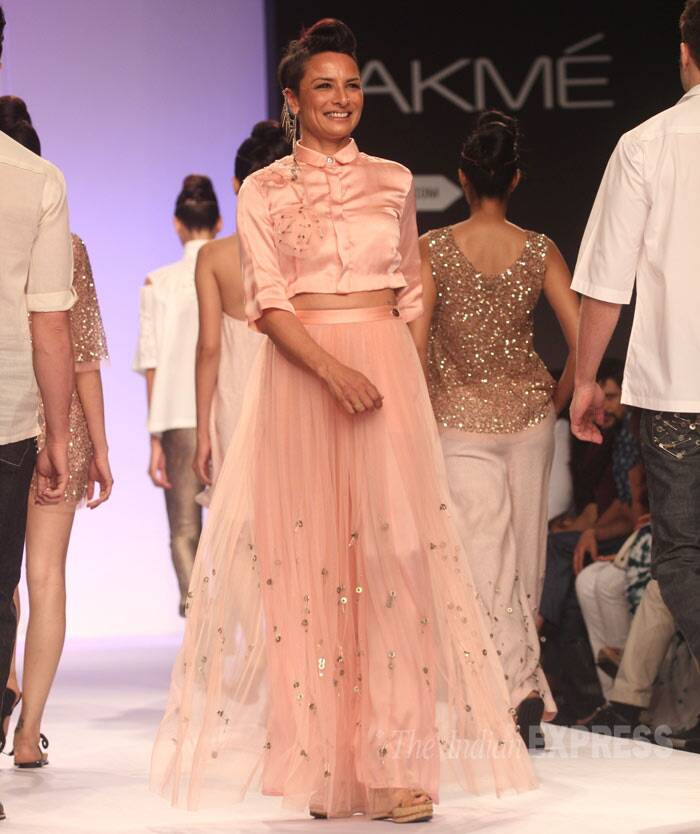 Adhuna Akhtar was all smiles as she walked the ramp for designer Asmita Marwa. (Photo: Varinder Chawla)