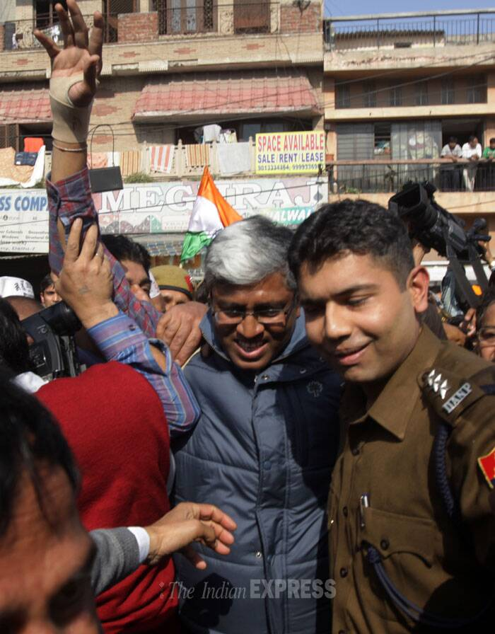 AAP leader and former Delhi Law Minister Somnath Bharti has also reached the police station. (IE Photo: Amit Mehra)