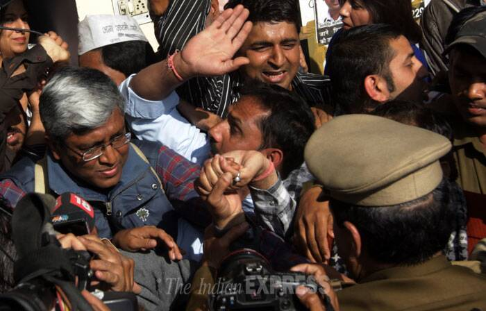 An FIR was lodged last night at Parliament Street Police station against Ilmi and Ashutosh and other AAP volunteers in connection with clashes outside BJP headquarters here. (IE Photo: Amit Mehra)