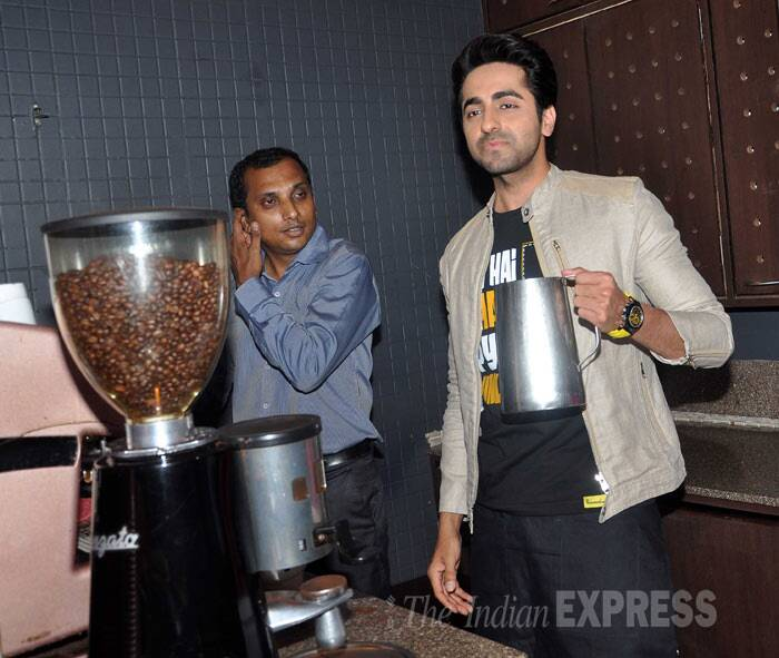 Ayushmann tries his hand at making some coffeee. (Photo: Varinder Chawla)