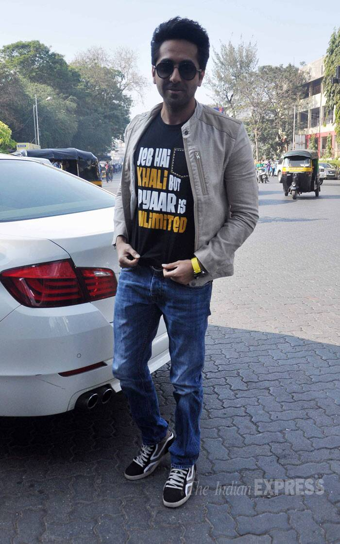 Ayushmann Khuranna, last seen in 'Nautanki Saala',  was cool in a tee and denims with a jacket. (Photo: Varinder Chawla)