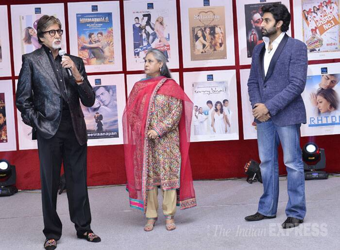 Megastar Amitabh Bachchan addresses the gathering while son Abhishek and wife Jaya listen. (IE Photo: Amit Chakravarty)