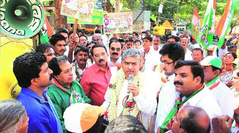 Nandan Nilekani at a campaign rally in Bangalore Friday. PTI