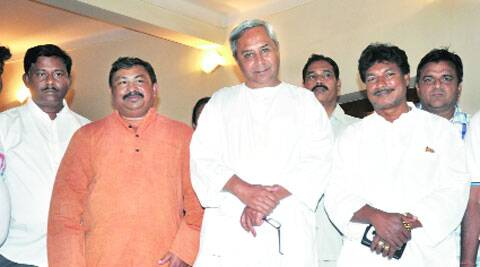 Sudam Marandi (right) with CM Naveen Patnaik after joining BJD Saturday