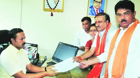 Bangalore South's BJP candidate Ananth Kumar files his nomination in Bangalore Wednesday. (PTI)