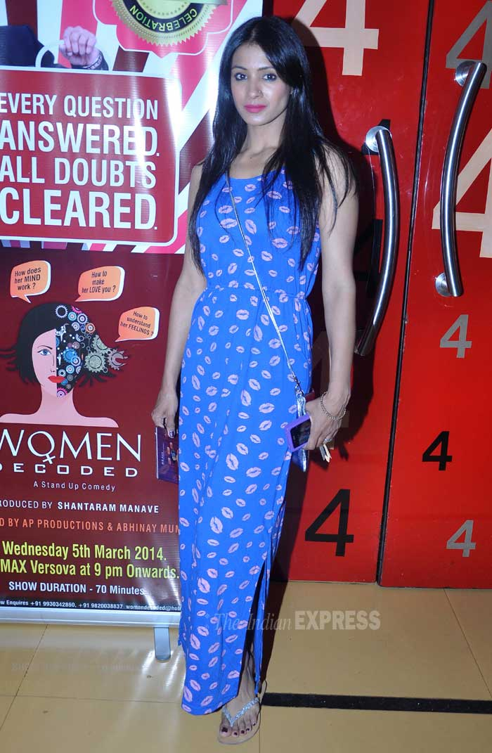 Actress and television show anchor Barkha Bisht was pretty in a printed blue maxi dress. (Photo: Varinder Chawla)