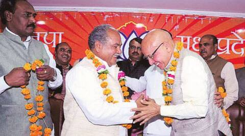 Congress candidate from Bhind, Bhagirath Prasad, joined the BJP on Sunday the day after he was declared Congress candidate. (Express Photo: Narendra Tomar)