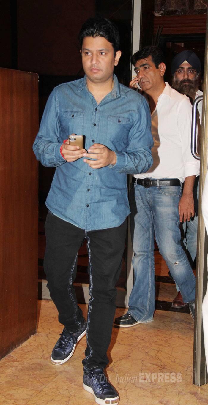 T-Series' Bhushan Kumar was spotted in a denim shirt and black pants. (Photo: Varinder Chawla)