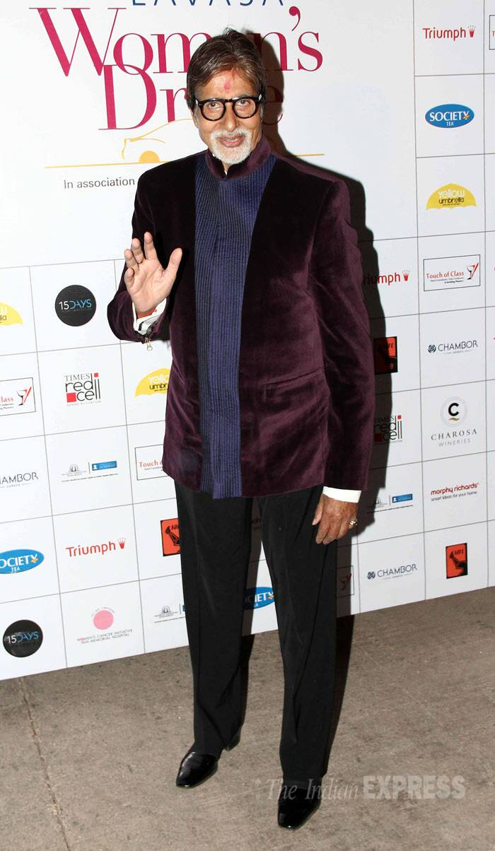 Megastar Amitabh Bachchan was suave in maroon bandgala blazer at Lavasa Women Drive Awards. (Photo: Varinder Chawla)