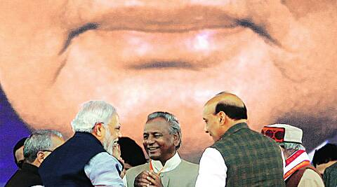 Narendra Modi with Rajnath Singh, Kalyan Singh and other party leaders at his Lucknow rally on Sunday. Vishal Srivastav