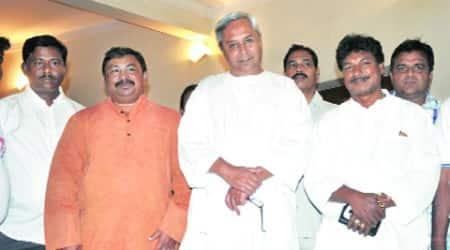 Sudam Marandi (right) with CM Naveen Patnaik after joining BJD Saturday