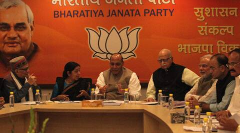 BJP leaders at a meeting in New Delhi on Saturday. (IE Photo: Tashi Tobgyal)