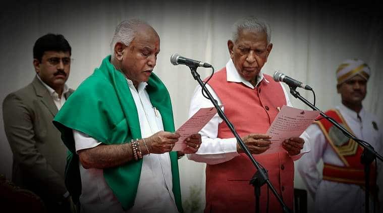 BS Yeddyurappa, karnataka assembly elections, yeddyurappa swearing in, yeddyurappa takes oath, Yeddyurappa's first day, karnataka government