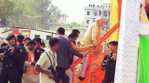 Modi at Bulandshahr rally venue on Wednesday.