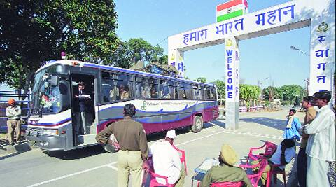 HOW MUCH LONGER? The Delhi-Lahore bus at the Wagah checkpost. ARCHIVE