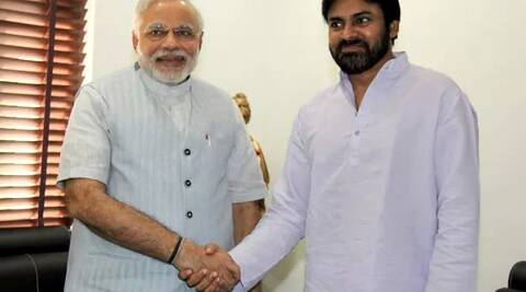 Gujarat Chief Minister Narendra Modi met Pawan Kalyan on Friday at Ahmedabad.